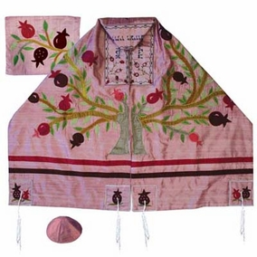 "Tree Of Life Silk Tallit Set CAT# TFA - 12, 34"" X 70"""