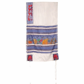 "Twelve Tribes Silk Tallit CAT# TS- 7white, 21"" X 77"""