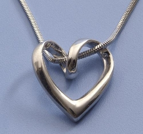 Twisted Heart Silver Necklace