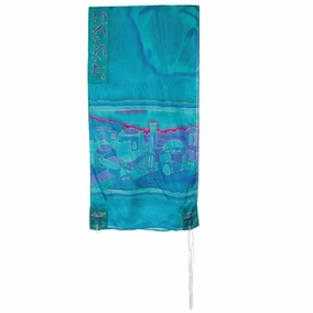 "Vista in Blue Silk Tallit CAT# TS- 6 white, 21"" X 77"""
