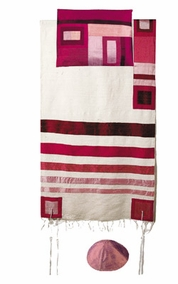 "White Raw Silk Tallit CAT# TRS- 2, 55"" X 73"""