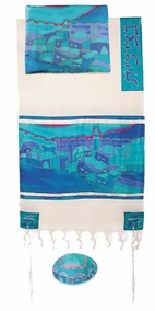 "Woven Cotton and Silk Tallit CAT# TWS- 2, 21"" X 77"""