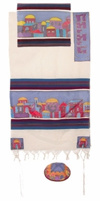 "Woven Cotton and Silk Tallit CAT# TWS- 3, 61"" X 77"""