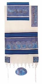 "Woven Cotton and Silk Tallit CAT# TWS- 9, 61"" X 77"""