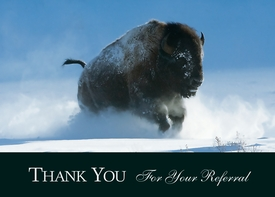 Buffalo Charging Through Snow<br>Personalized Thank You Card
