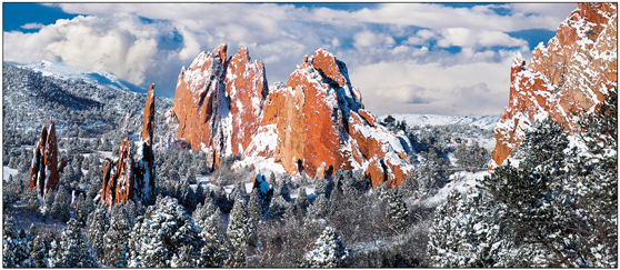 Snow Towers Garden Of The Gods Panoramic Holiday Cards