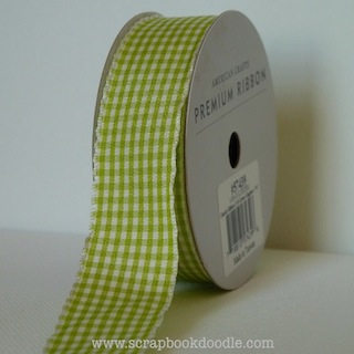 American Crafts: Premium Ribbon - Green Gingham