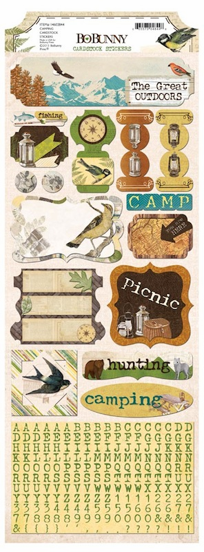 Bo Bunny - Trail Mix - Camping Cardstock Stickers