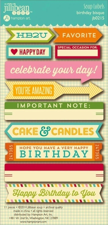 Jillibean Soup - Birthday Bisque - Soup Label - Cardstock Stickers