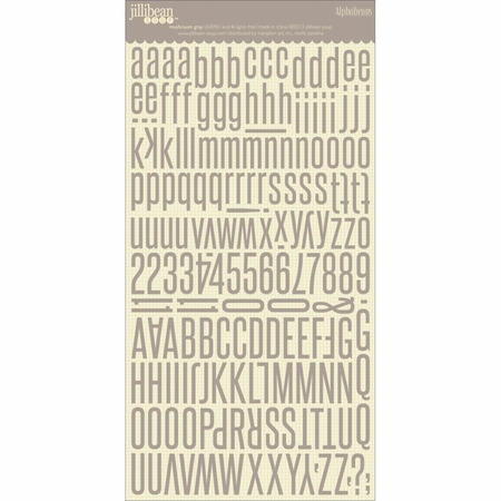 Jillibean Soup - Alphabeans Large Cardstock Stickers - Mushroom Gray S/O