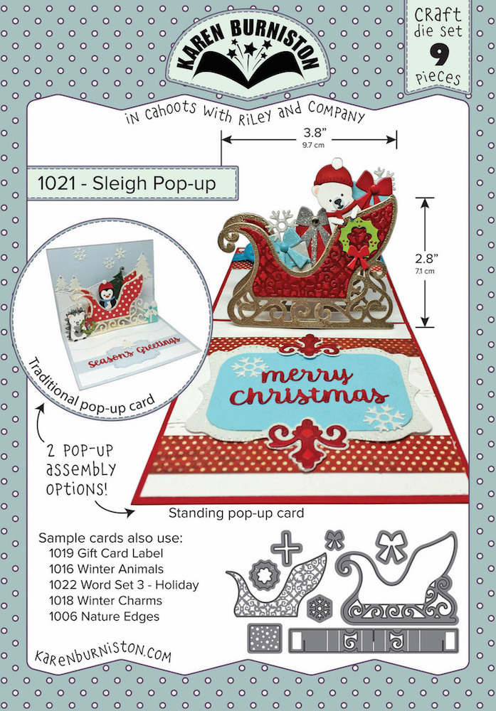 Karen Burniston Sleigh Pop Up Die Set 1021