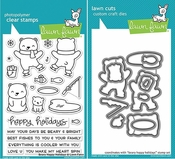 Lawn Fawn Beary Happy Holidays Stamp and Die Set LF1470 & LF1471