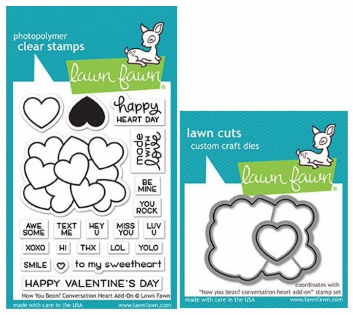 Lawn Fawn How You Bean? Conversation Heart Add-on Stamp and Die Set LF1553 & LF1554 (S/O)