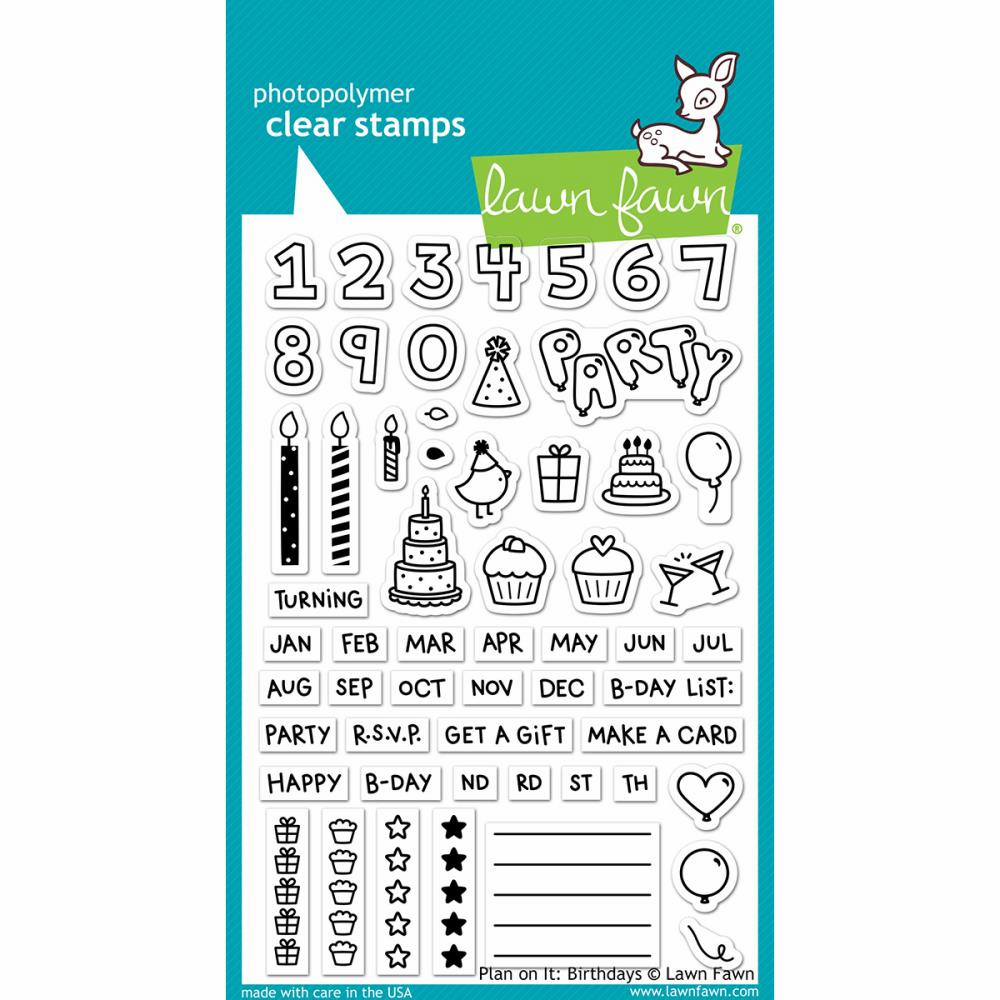 Lawn Fawn - Plan On It Birthdays - Clear Stamp Set LF1340