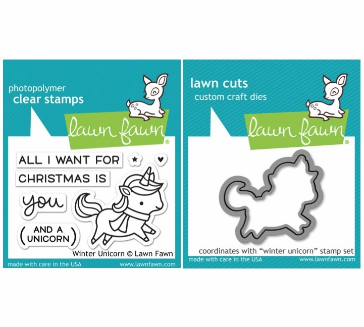 Lawn Fawn Winter Unicorn Stamp and Die Set LF1218 & LF1219
