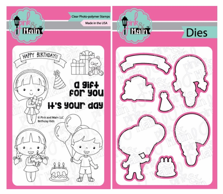 Pink and Main Birthday Kids Clear Stamps and Die Set (S/O)