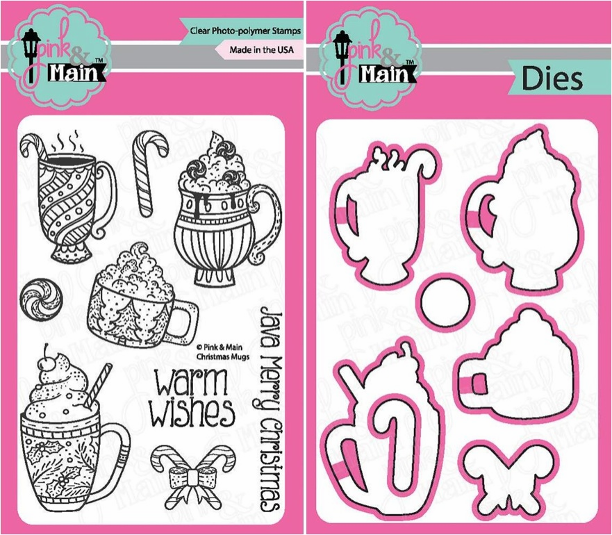 Pink and Main Christmas Mugs Clear Stamps and Die Set (S/O)