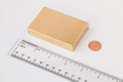 "3"" x 2"" x 1/2"" Neodymium Block Magnet (Gold Plated)"