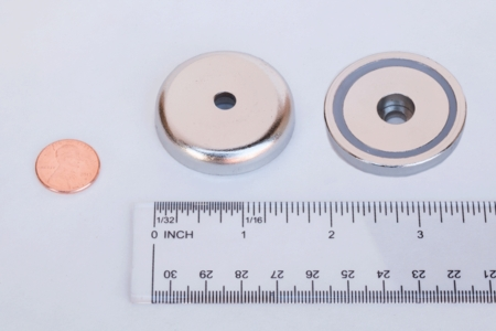 """Neodymium Cup Assembly Magnet 1.700"""" dia x 0.35"""" (Straight Hole)"""