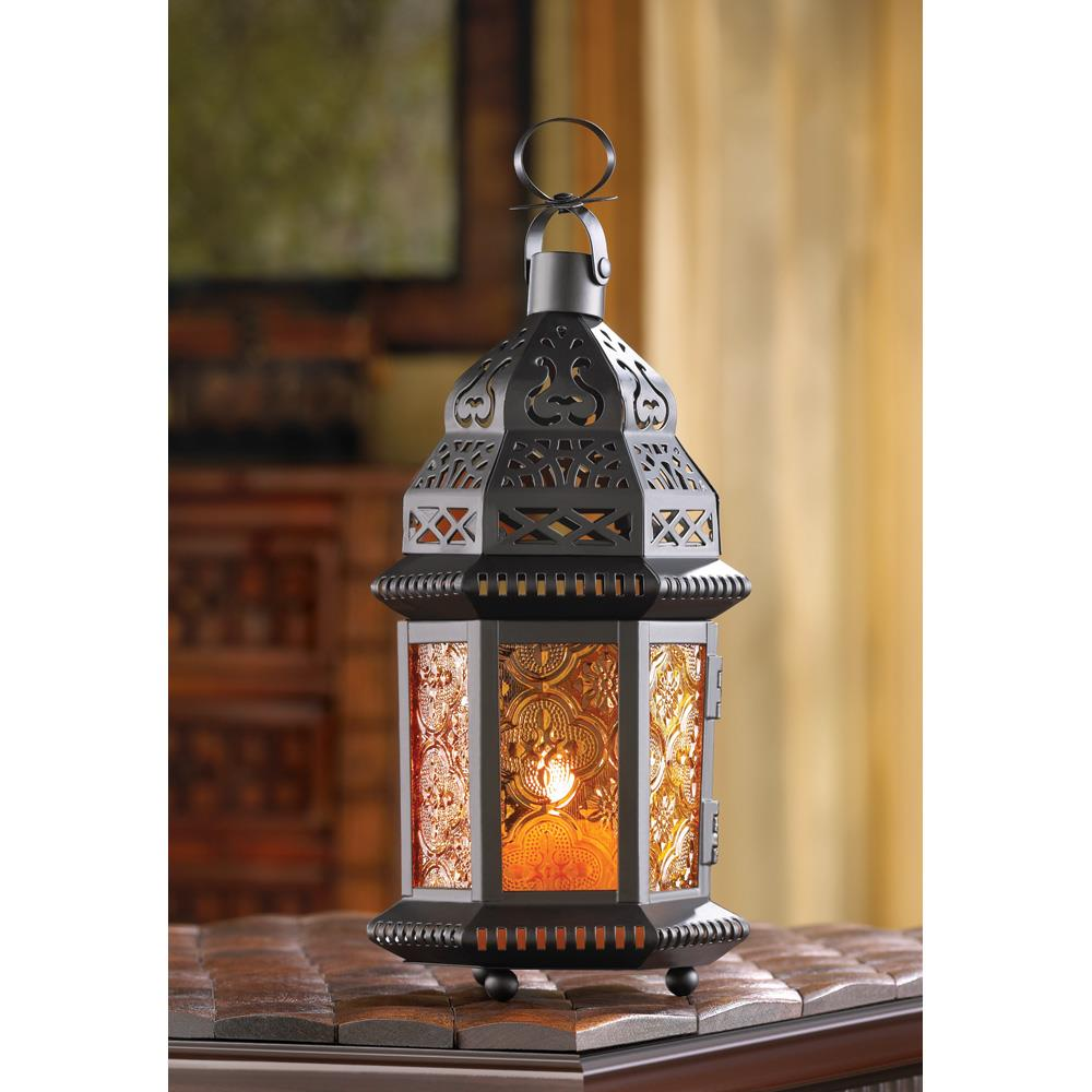 Amber Moroccan Candle Lantern Wholesale at Koehler Home Decor