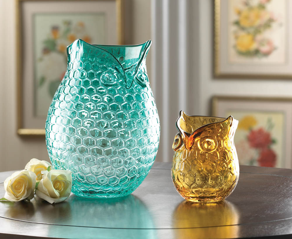 Amber Pop Owl Vase Wholesale at Koehler Home Decor