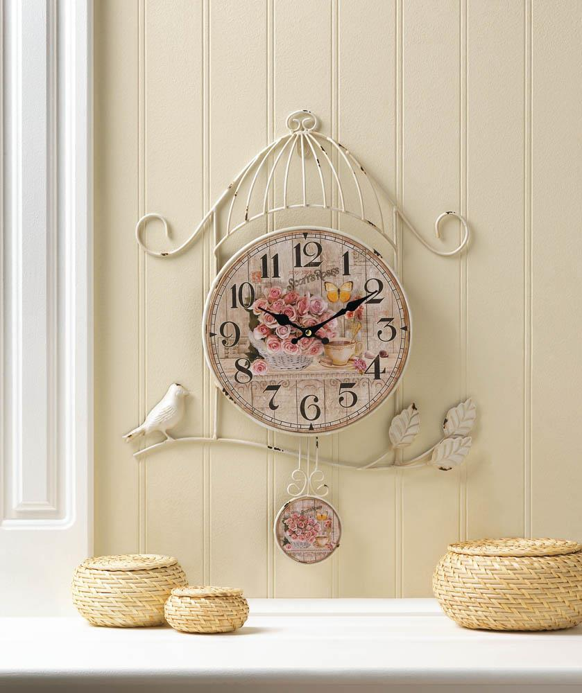 Birdcage country rose wall clock wholesale at koehler home for Koehler home decor