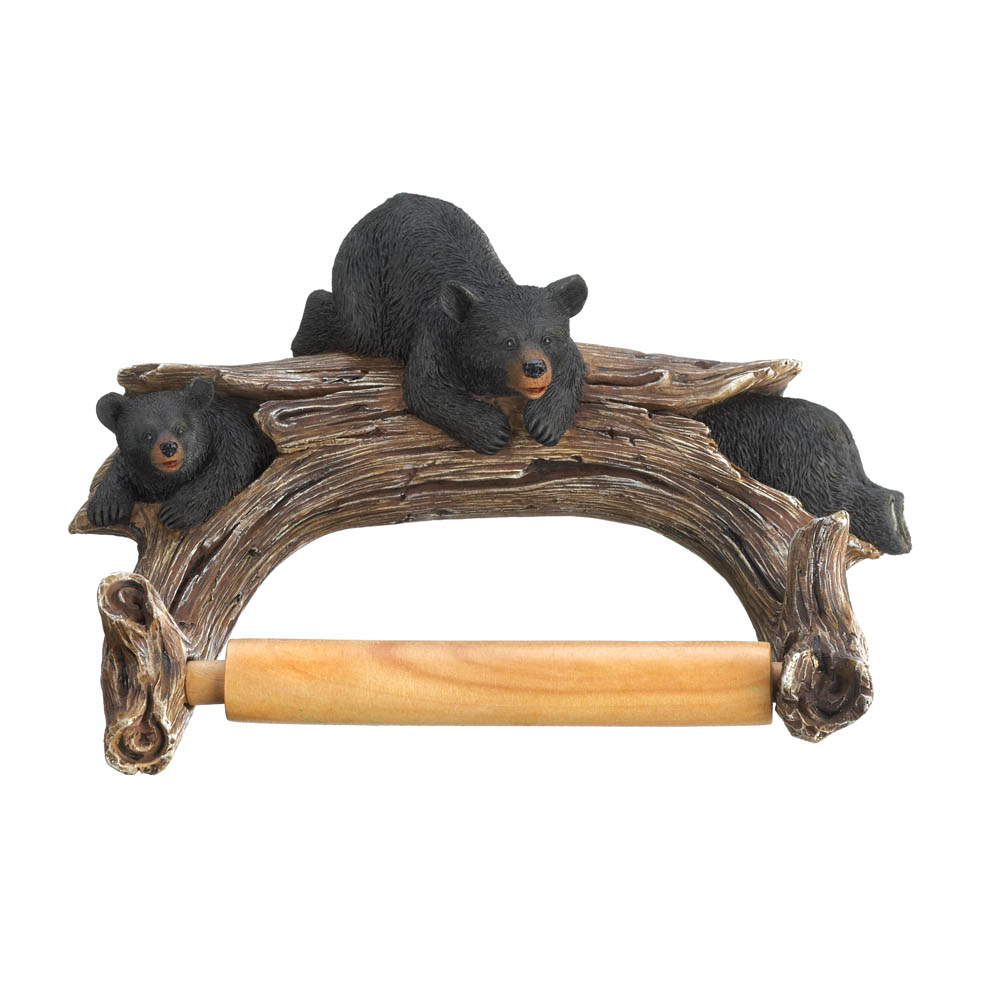 Black bear toilet paper holder wholesale at koehler home decor for Bear home decorations