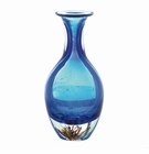 Blue Art Glass Bottleneck Vase