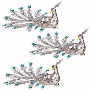 Blue Gem Peacock Christmas Ornament Set