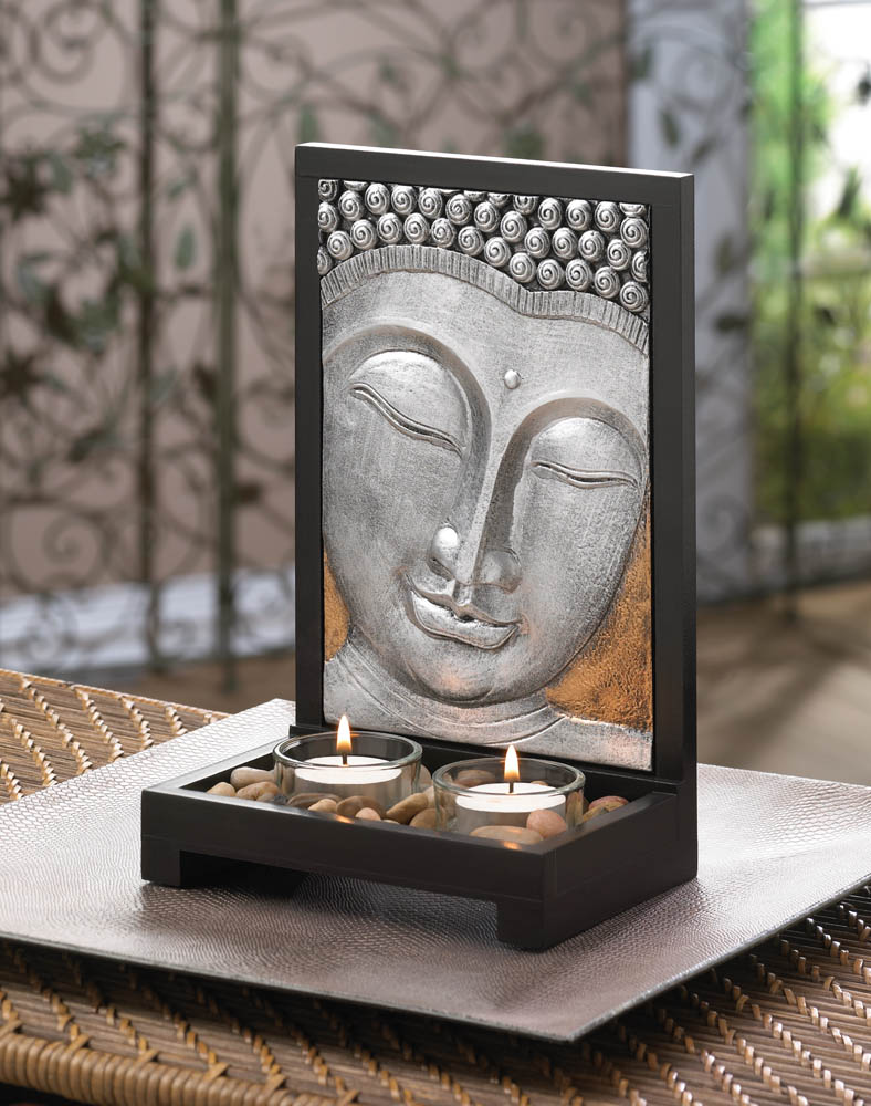 buddha plaque candle decor wholesale at koehler home decor. Black Bedroom Furniture Sets. Home Design Ideas