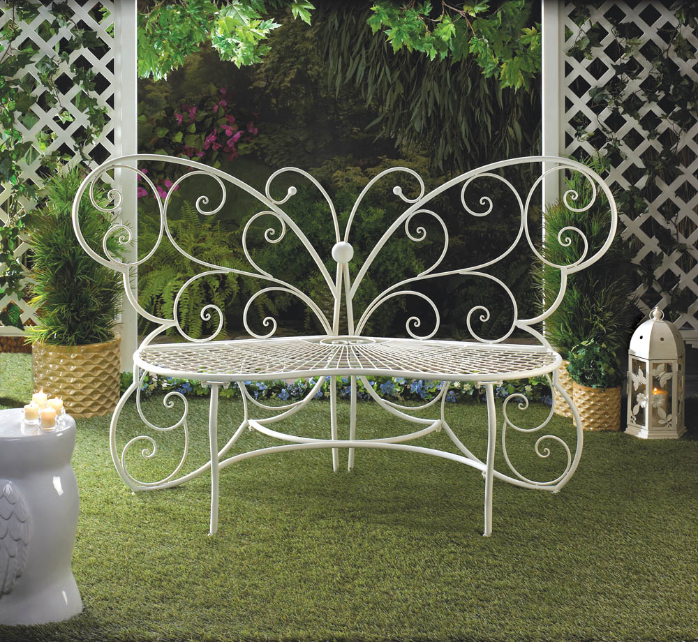 Butterfly garden bench wholesale at koehler home decor for Outdoor butterfly decor
