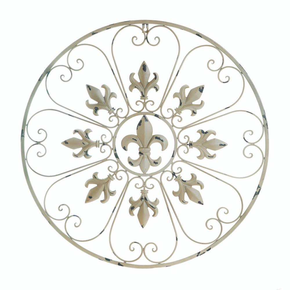Circular fleur de lis wall decor wholesale at koehler home for Fleur de lis home decorations