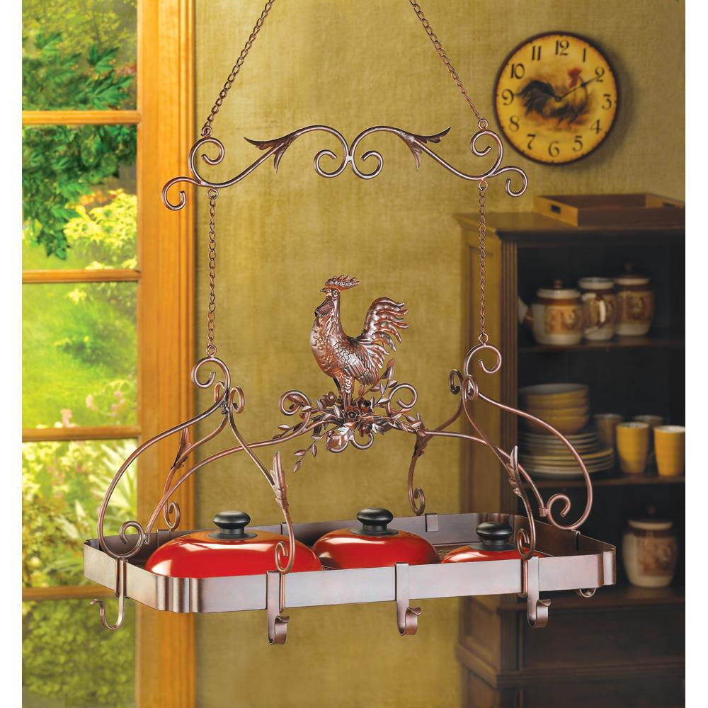 Country Rooster Kitchen Pot Rack Wholesale At Koehler Home