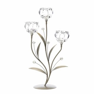 Crystal Flower Triple Candle Holder