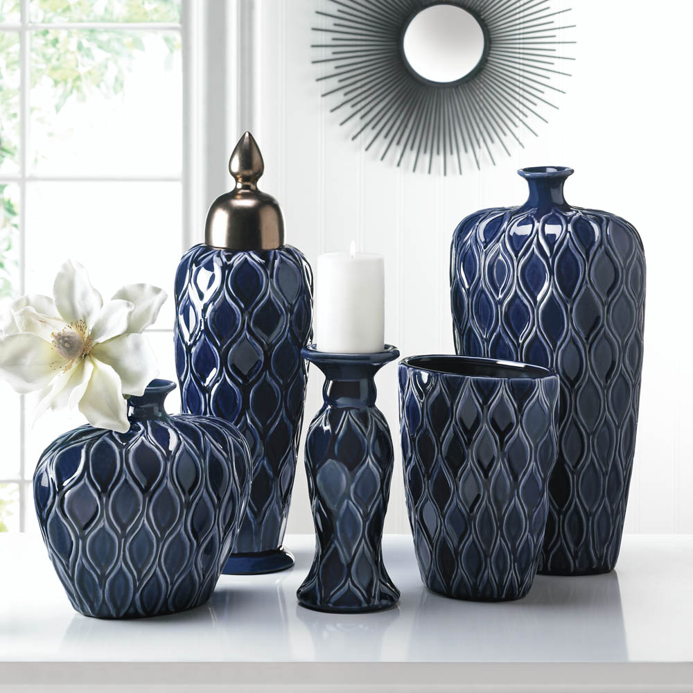 Deep blue wide vase wholesale at koehler home decor for Koehler home decor