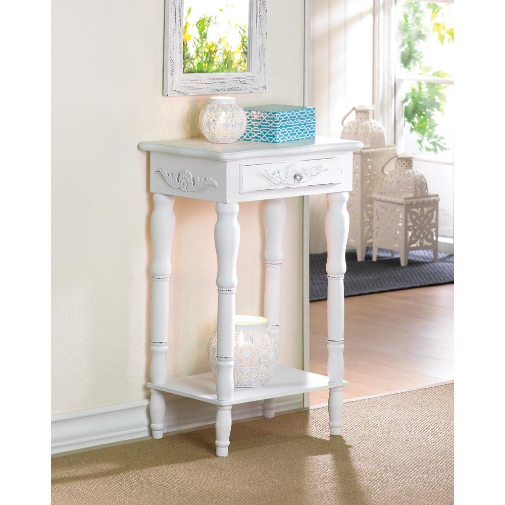 Distressed white wood accent table wholesale at koehler for Koehler home decor
