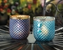 Dominion Teal Glass Candleholder
