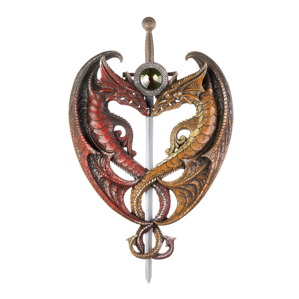 Dueling dragons sword wall plaque wholesale at koehler home decor dueling dragons sword wall plaque amipublicfo Choice Image