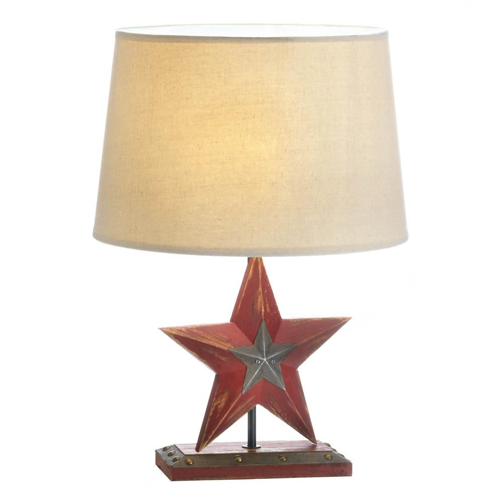 Farmhouse red star table lamp wholesale at koehler home decor for Table lamp bases wholesale