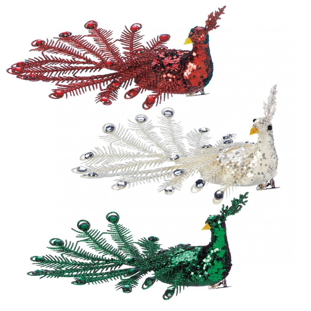 Festive Peacock Christmas Ornament Set Wholesale At