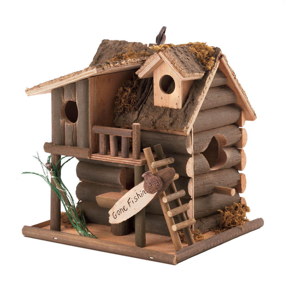 Fishing cabin bird house wholesale at koehler home decor for Home decorations wholesale