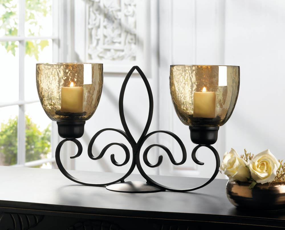 Fleur de lis dual candle holder wholesale at koehler home for Koehler home decor