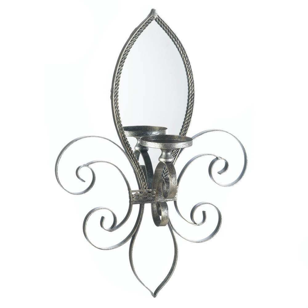 Fleur de lis mirrored wall sconce wholesale at koehler home decor fleur de lis mirrored wall sconce amipublicfo Image collections
