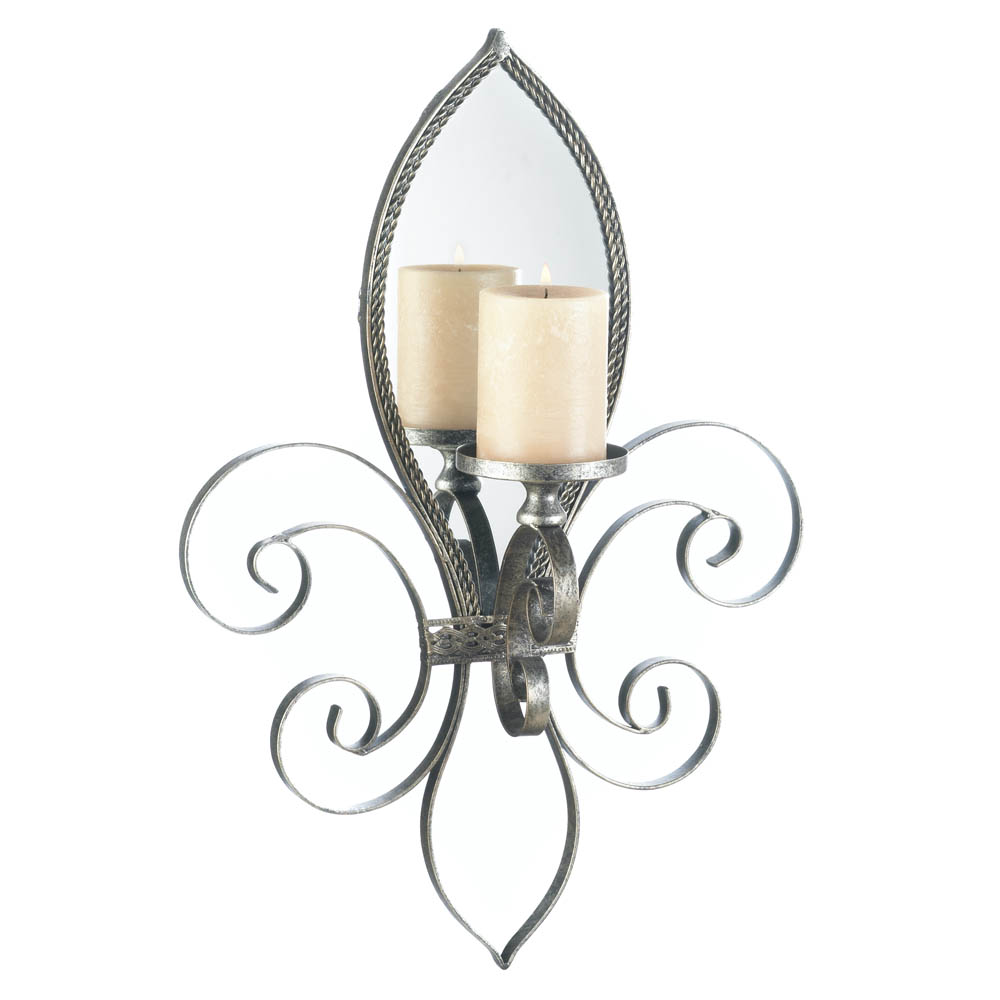 Mirrored Wall Sconce fleur-de-lis mirrored wall sconce wholesale at koehler home decor