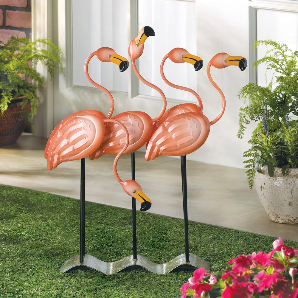 Flock o flamingos flamingo decor wholesale at koehler for Decorative garden accessories