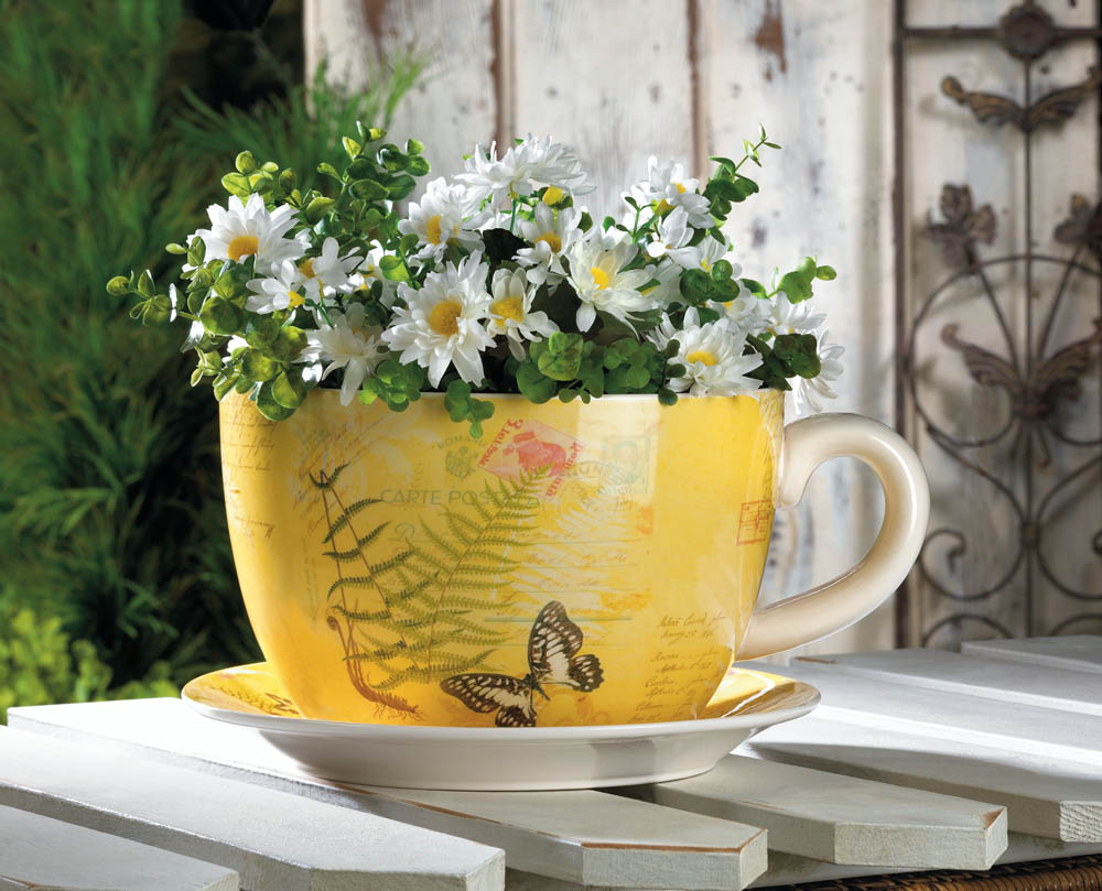 Garden Butterfly Teacup Planter Wholesale at Koehler Home ...