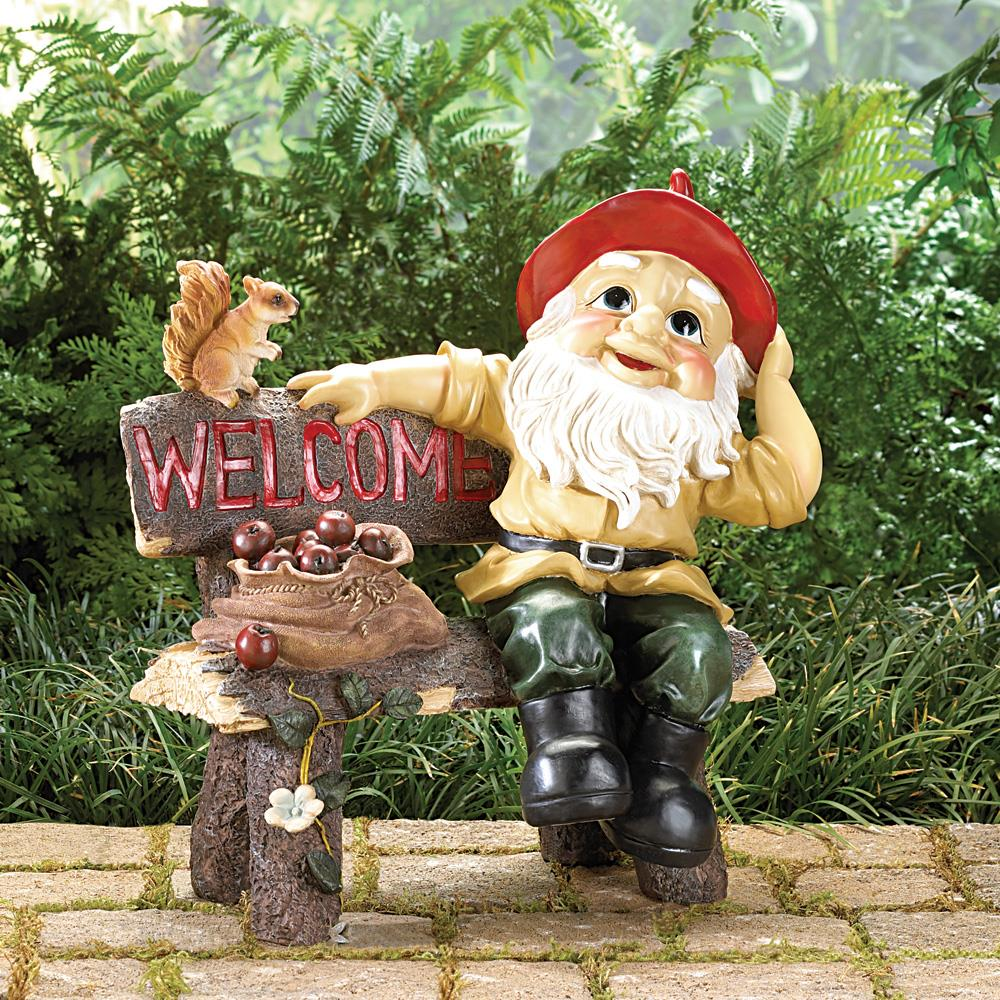 Gnome In Garden: Garden Gnome Welcome Statue Wholesale At Koehler Home Decor