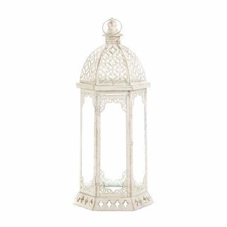 Graceful Distressed White Lantern (L)
