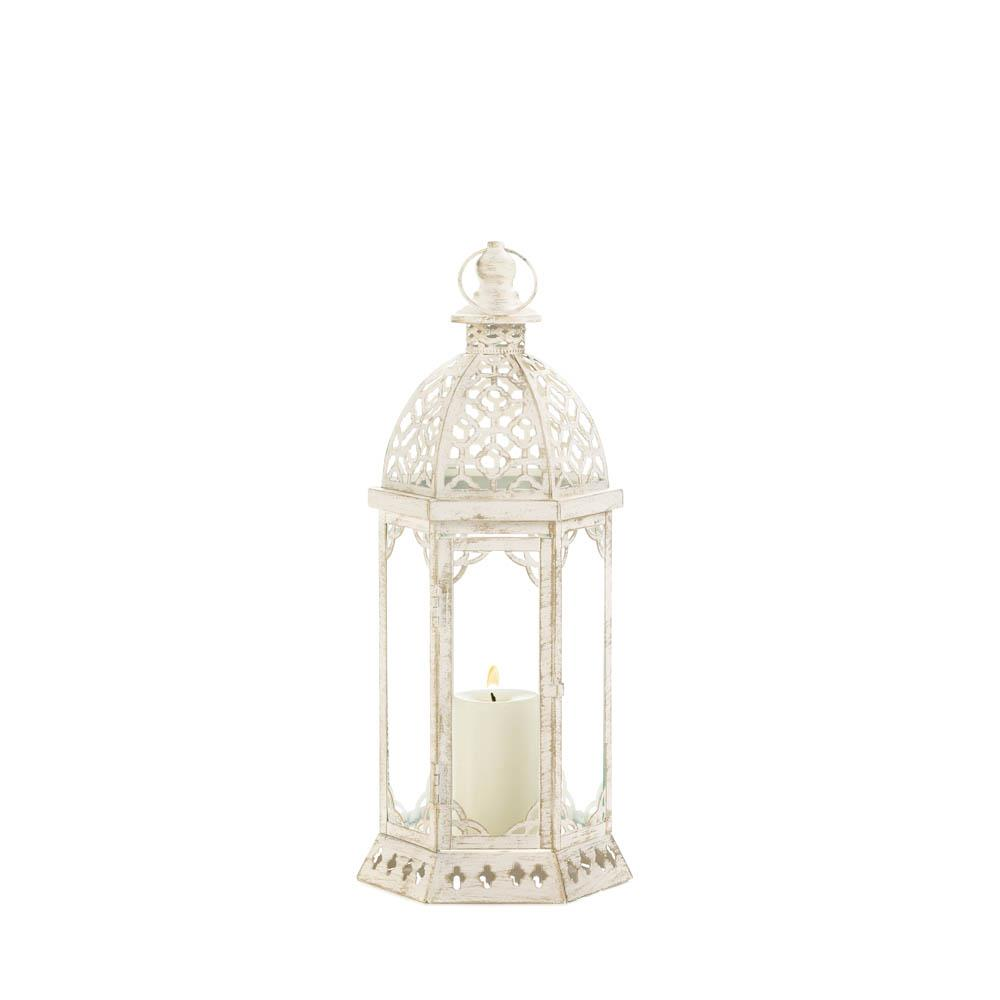 Distressed Home Decor: Graceful Distressed White Lantern (S) Wholesale At Koehler