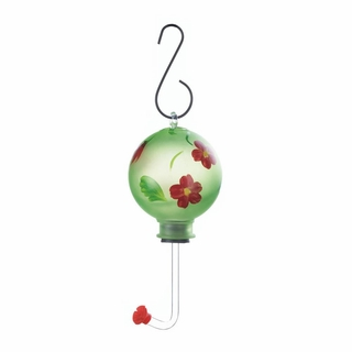 Green Glass Hummingbird Feeder